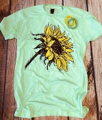 BE BEAUTIFUL SUNFLOWER MINT CREW NECK SIZE SMALL $7.50