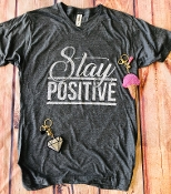 STAY POSITIVE CHARCOAL VNECK SHIRTS SIZE SMALL $7.50