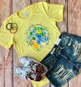 HE'S GOT THE WHOLE WORLD IN HIS HANDS YELLOW SIZE SMALL $7.50