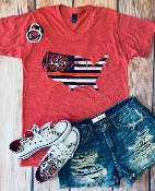 BACK THE RED  VNECK HEATHER RED TSHIRT SIZE SMALL $7.50