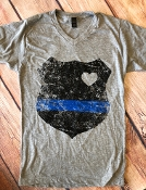 BACK THE BADGE VNECK TSHIRT SIZE SMALL $7.50